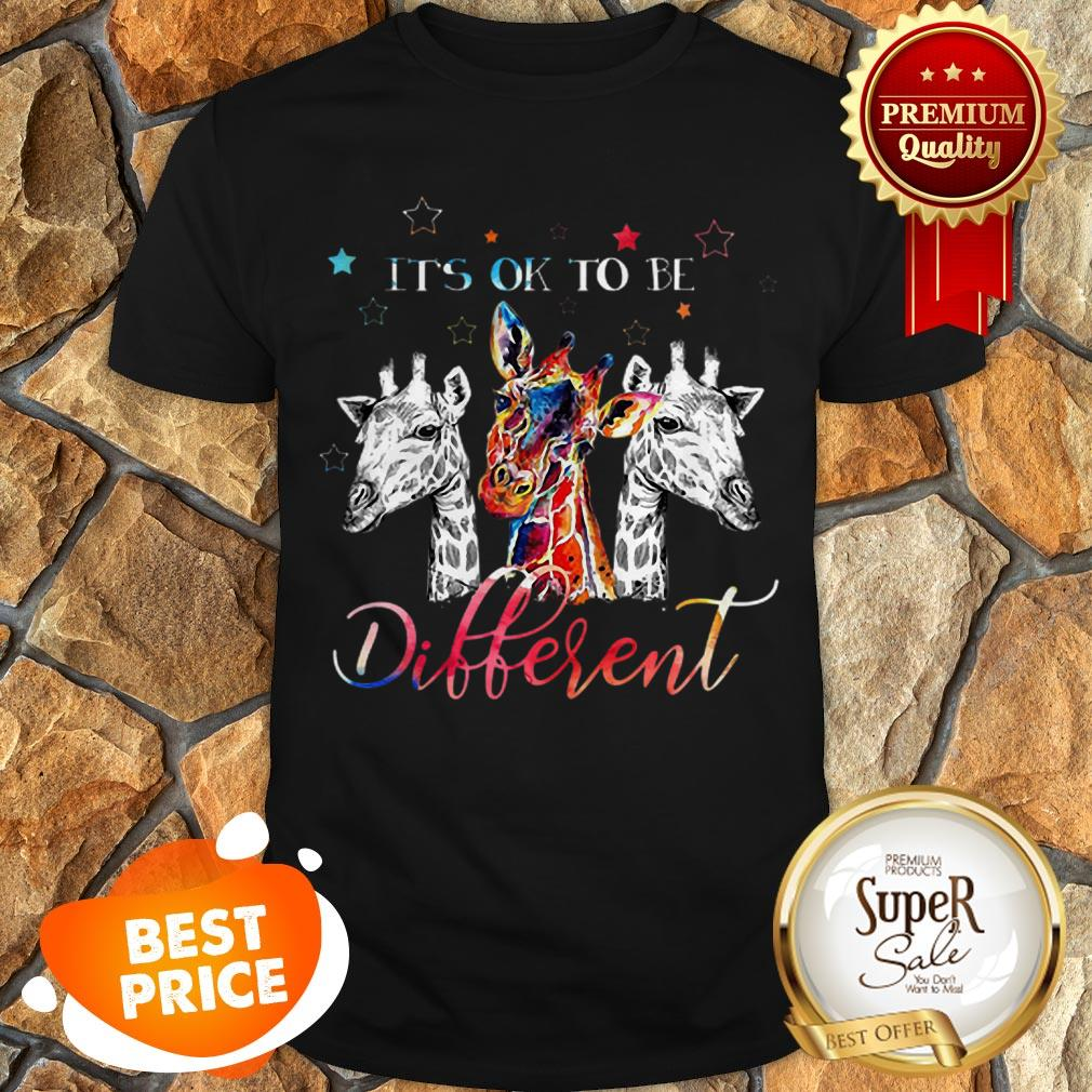 Nice Giraffes It's Ok To Be Different Colors Shirt