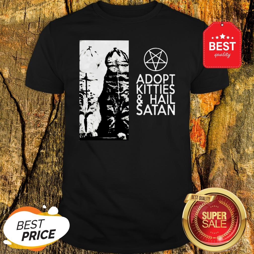 Official Cat Adopt Kitties And Hail Satan Jesus Shirt