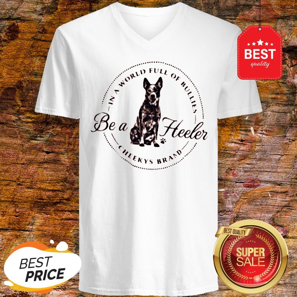 Official In A World Full Of Bullies Be A Heeler Cheekys Brand V-Neck