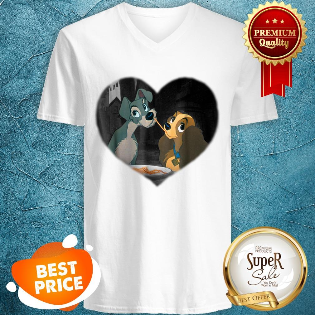 Nice Disney Lady and the Tramp First Kiss V-neck