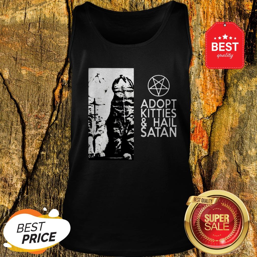 Official Cat Adopt Kitties And Hail Satan Jesus Tank Top