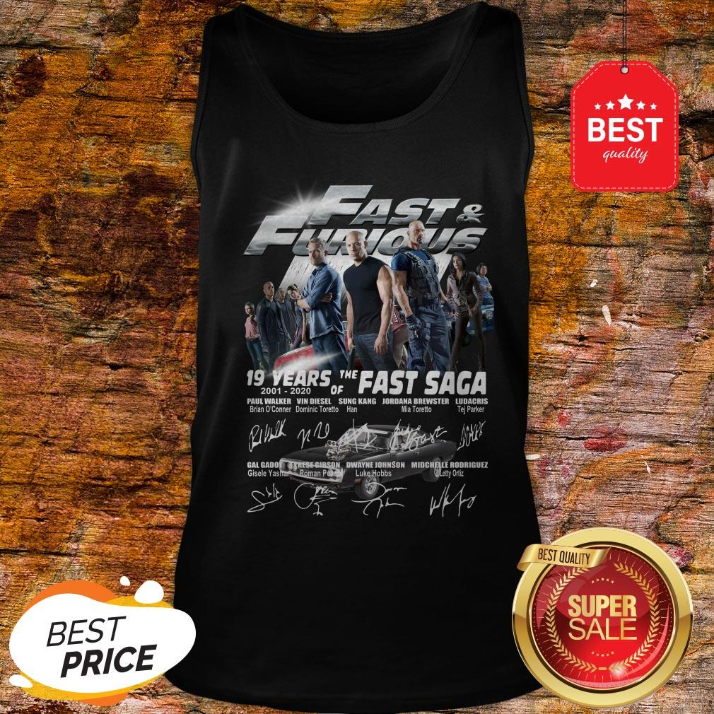 Official Fast & Furious 19 Years Of The Fast Saga 2001 2020 Signatures Tank Top