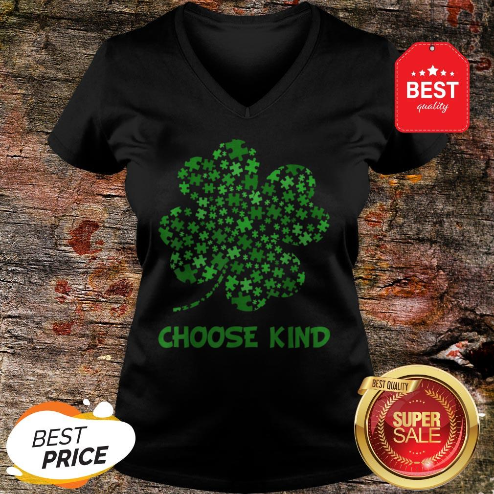 Irish Shamrock Autism Puzzle Pieces St Patrick's Day Gifts V-Neck