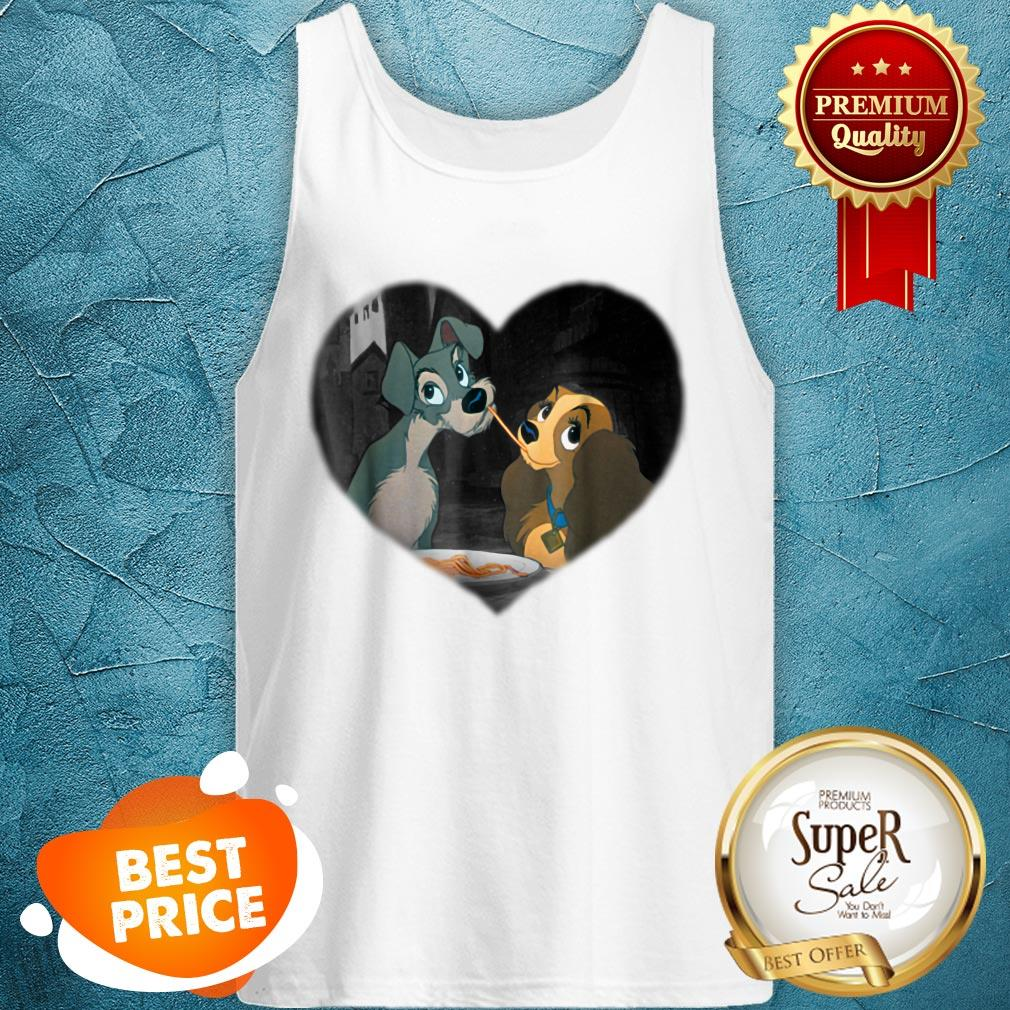 Nice Disney Lady and the Tramp First Kiss Tank Top