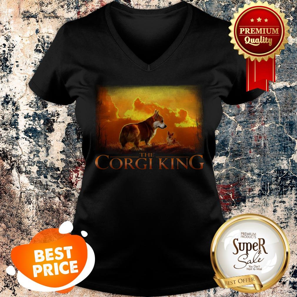 Official The Corgi King Dog Lovers V-Neck