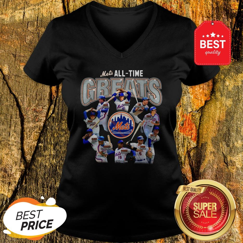 Official New York Mets All Time Greats Players Signatures V-Neck