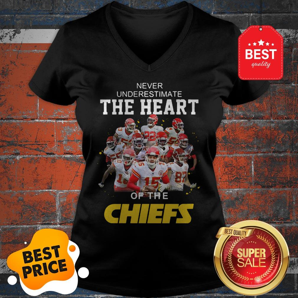 Official Never Underestimate The Heart Of The Kansas City Chiefs V-Neck