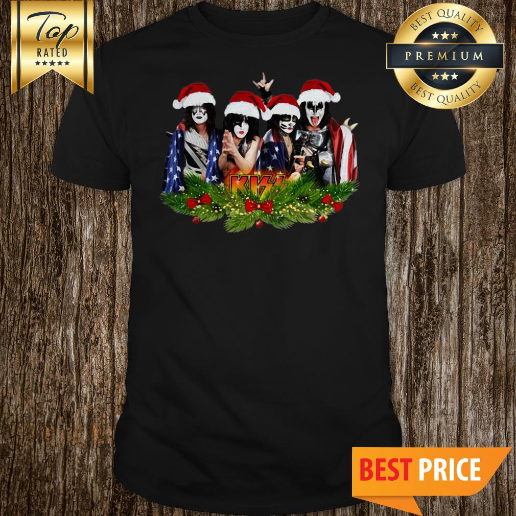 Official Merry Christmas Kiss Band American Flag Shirt