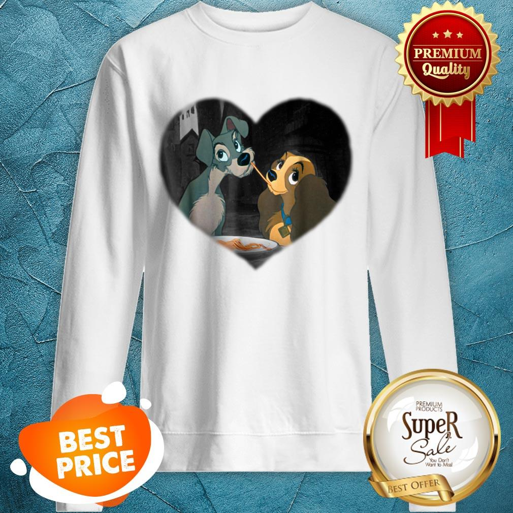 Nice Disney Lady and the Tramp First Kiss Sweatshirt