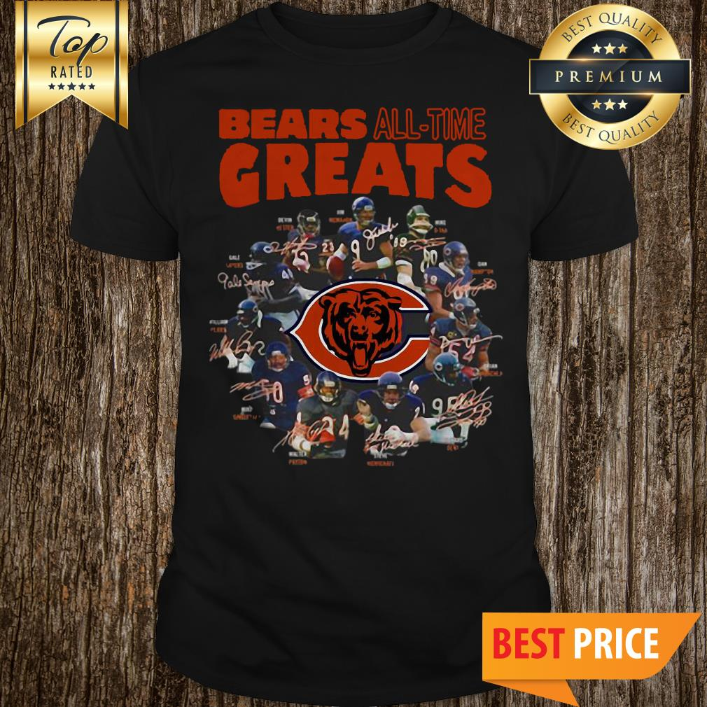 NFL Cool Chicago Bears All Time Greats Team Players Signatures Tiger Shirt