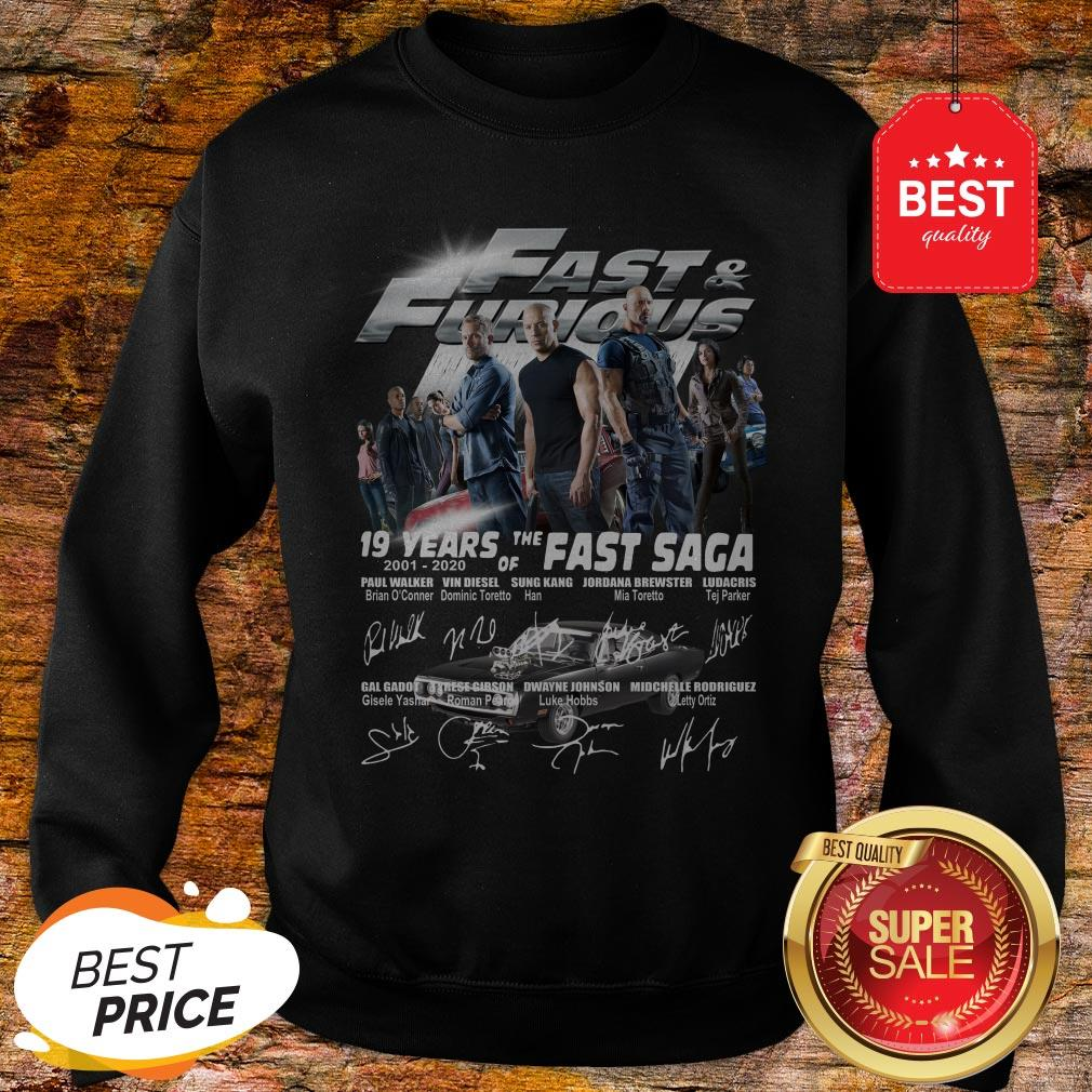 Official Fast & Furious 19 Years Of The Fast Saga 2001 2020 Signatures Sweatshirt