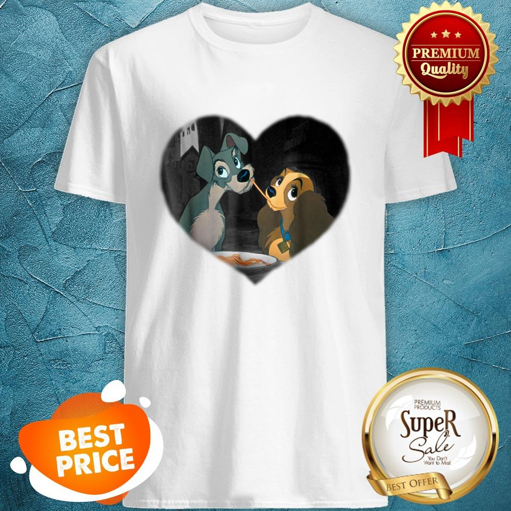 Nice Disney Lady and the Tramp First Kiss Shirt
