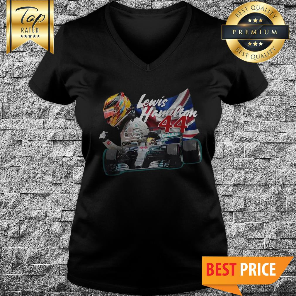 Official Lewis Hamilton 44 Car Signature Union Jack V-Neck