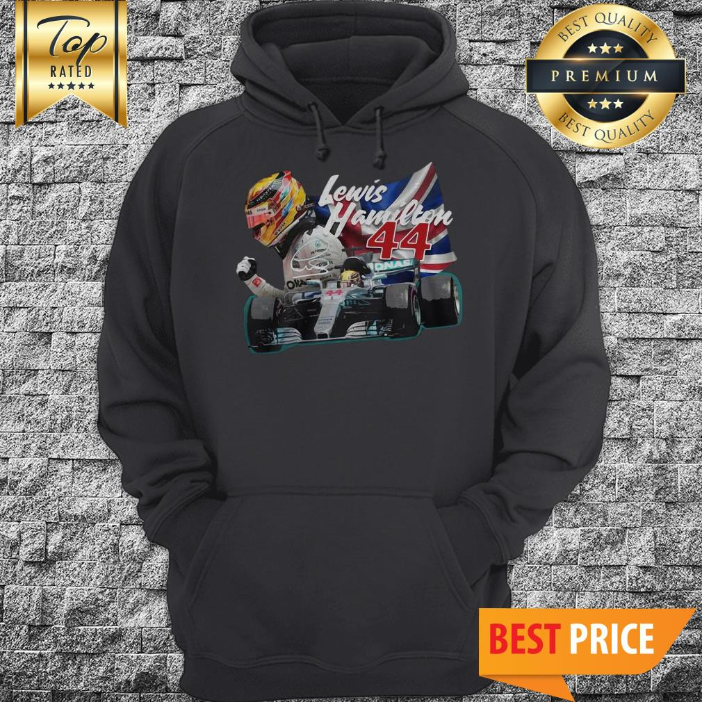 Official Lewis Hamilton 44 Car Signature Union Jack Hoodie