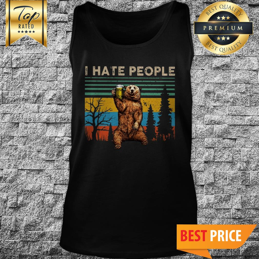 Awesome I Hate People – Bear Drinking Beer Vintage Tank Top