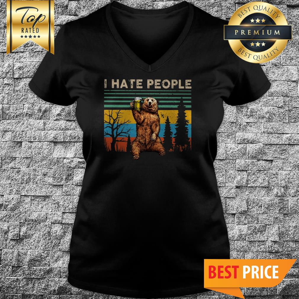 Awesome I Hate People – Bear Drinking Beer Vintage V-Neck