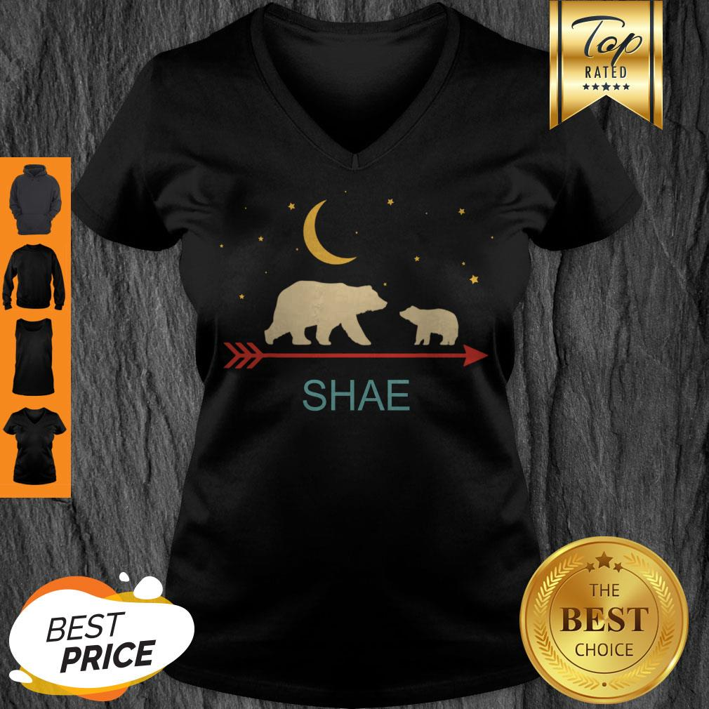 Awesome Shae Name Gift Personalized Mama Bear With 1 Cub V-neck