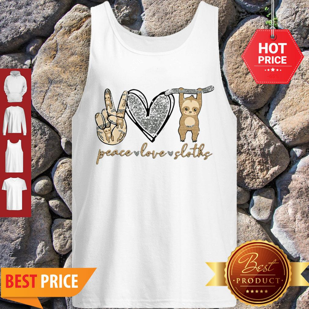Beautiful Glitter Peace Love Sloths Tank Top