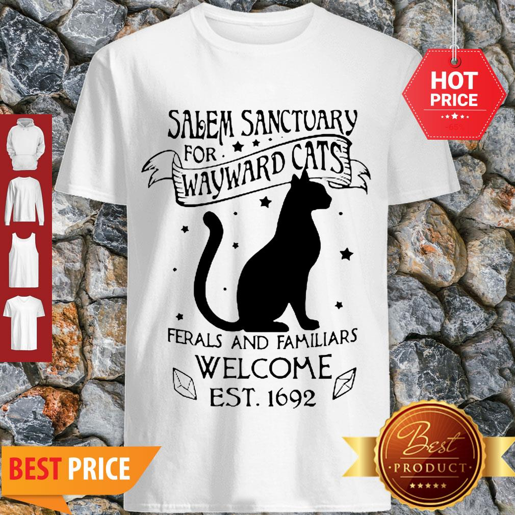 Cat Salem Sanctuary For Wayward Cats Ferals And Familiars Welcome Shirt