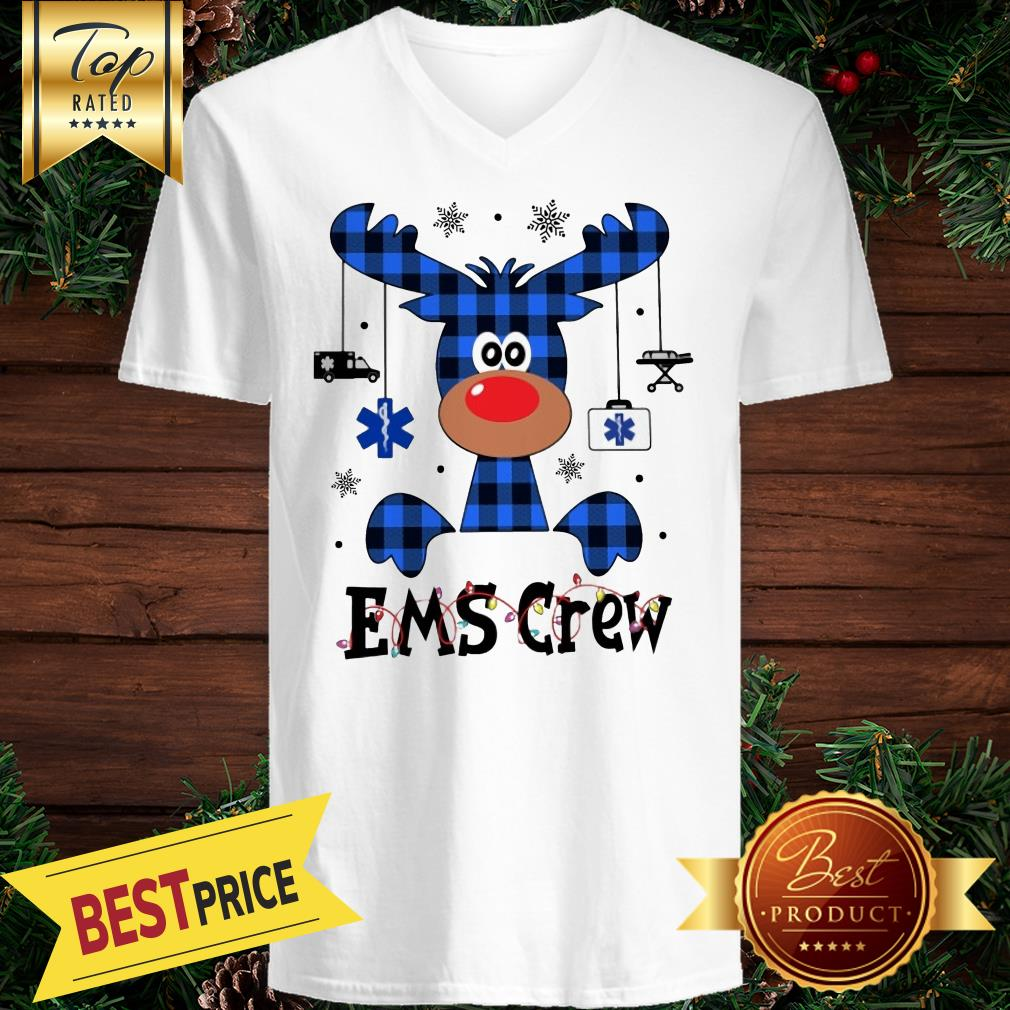 EMS Crew Christmas Reindeer With Gift Classic V-neck