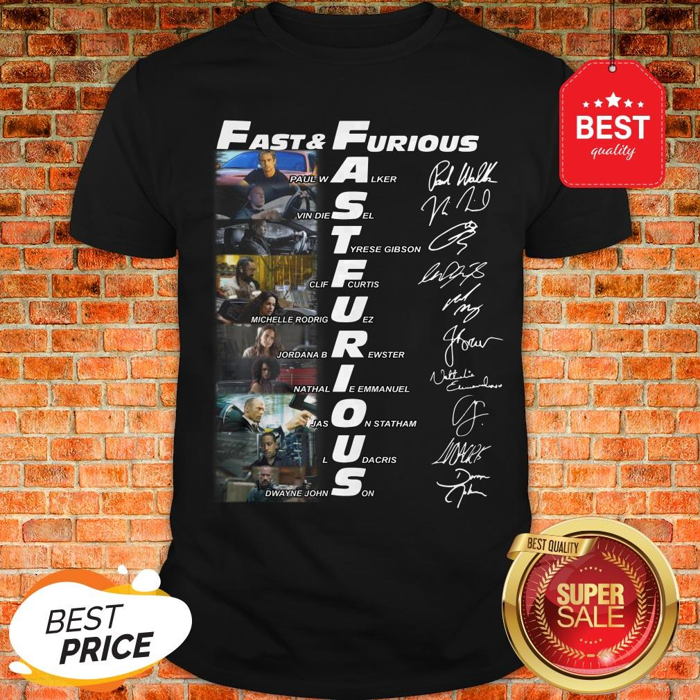 Hot Fast And Furious Paul Walker Vin Diesel Tyrese Gibson Signatures Shirt
