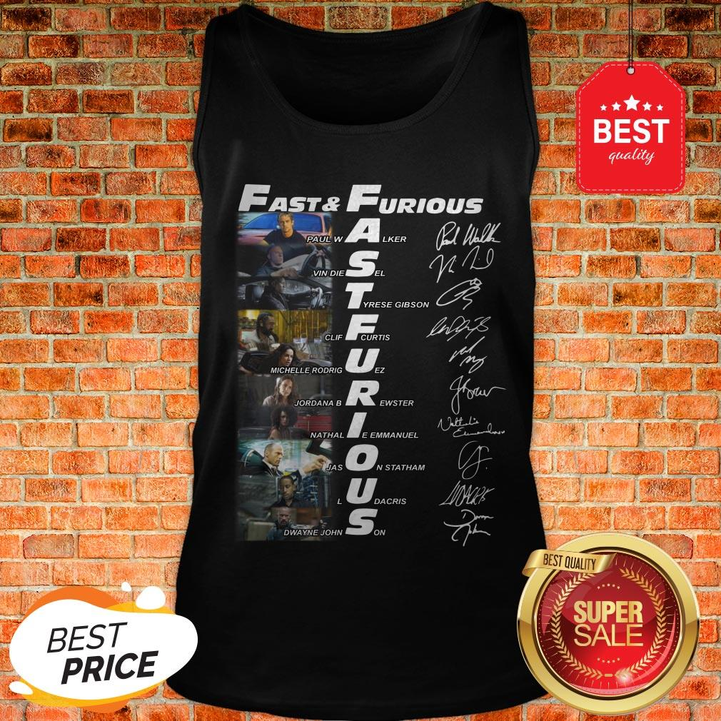Hot Fast And Furious Paul Walker Vin Diesel Tyrese Gibson Signatures Tank Top
