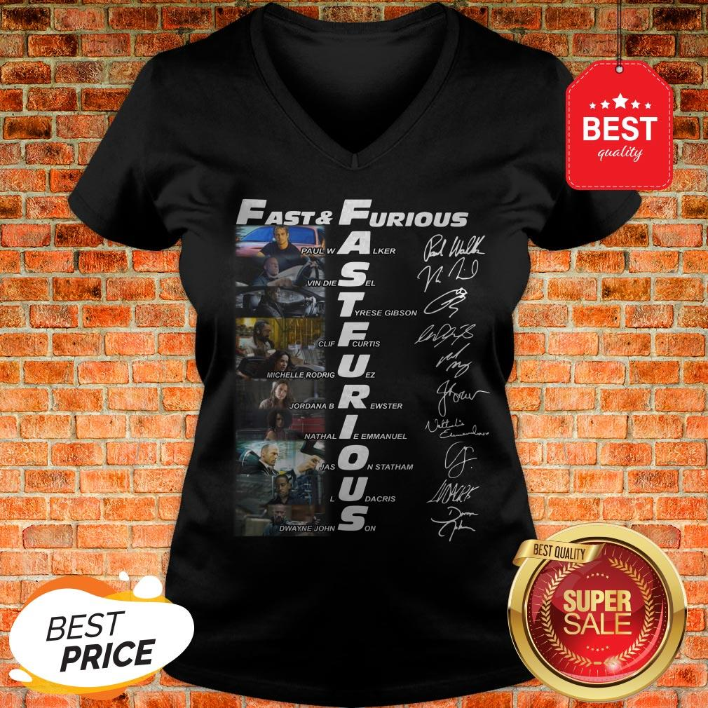 Hot Fast And Furious Paul Walker Vin Diesel Tyrese Gibson Signatures V-Neck