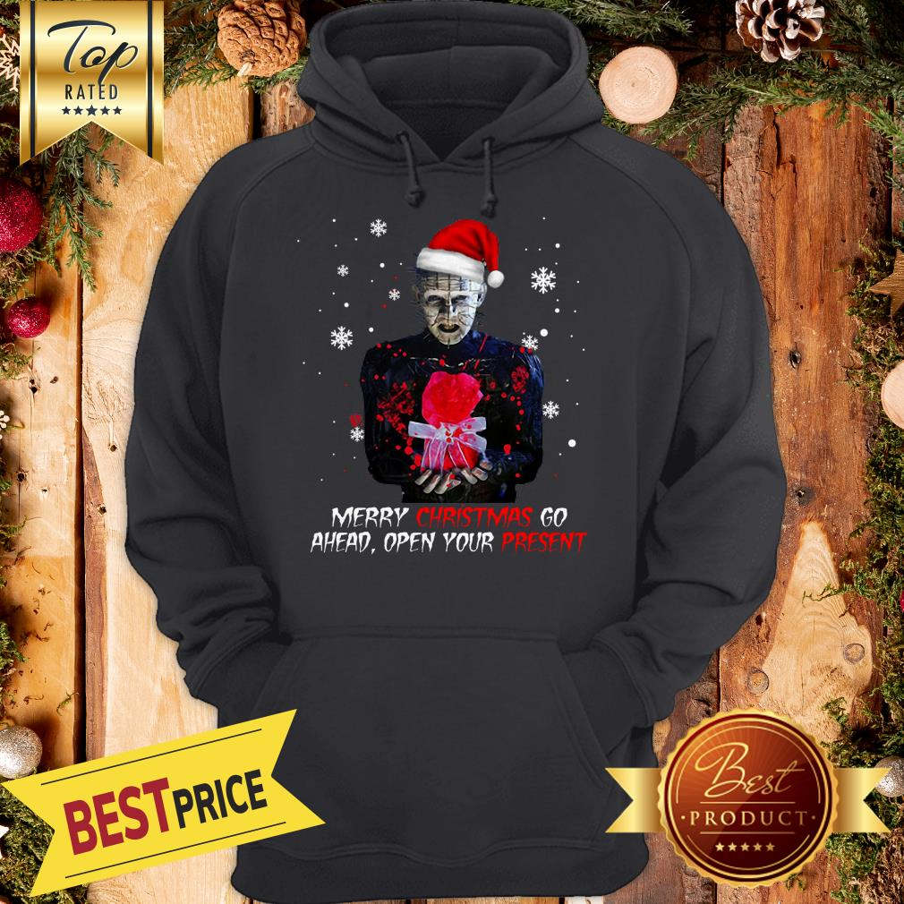 Hot Pinhead Merry Christmas Go Ahead Open Your Present Christmas Hoodie