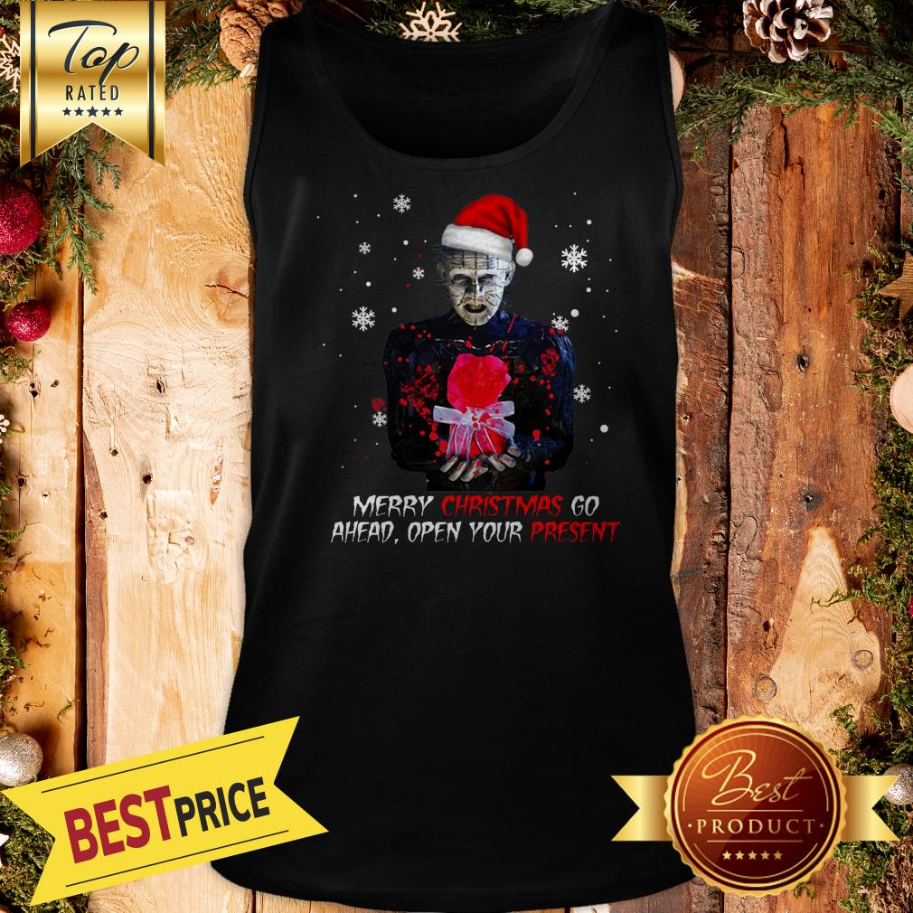 Hot Pinhead Merry Christmas Go Ahead Open Your Present Christmas Tank Top