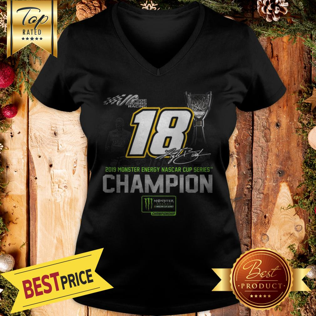Kyle Busch 2019 Monsters Energy Nascar Cup Series Champion Signature V-neck