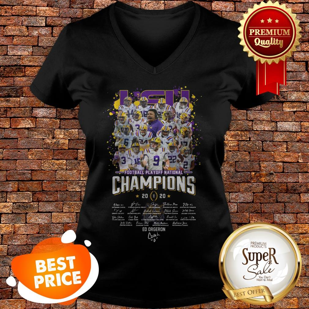 LSU Football Playoff National Champions Signature V-neck
