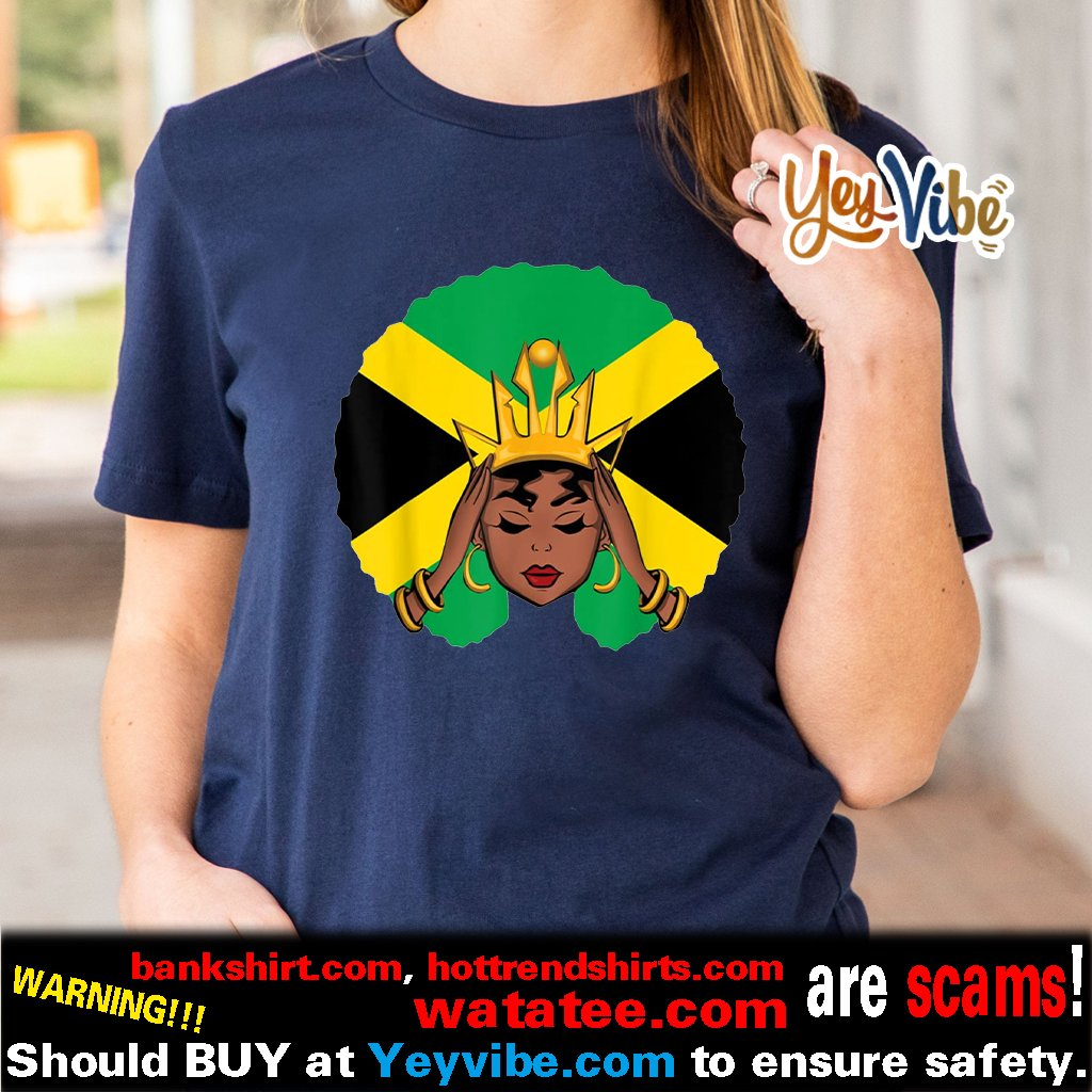 Melanin Poppin Jamaican Queen With Crown Shirt