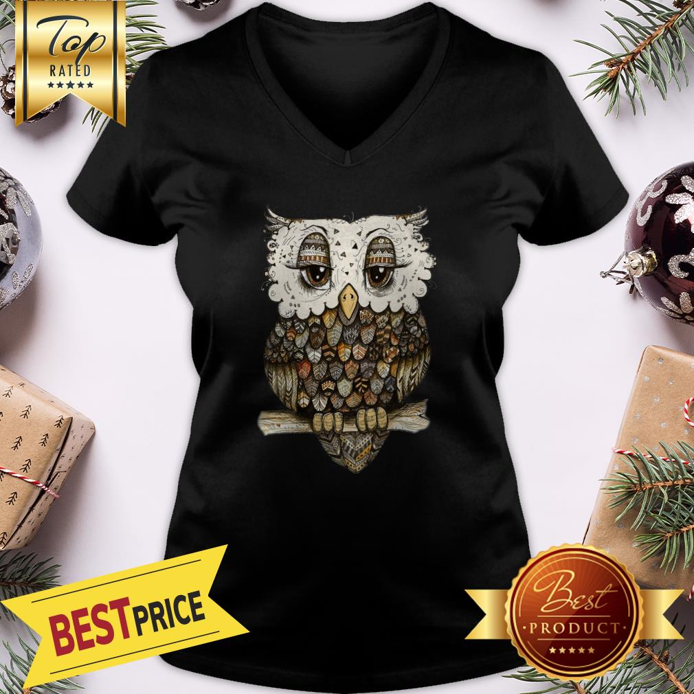 Miaprintspro Owl Brocade Owl V-neck