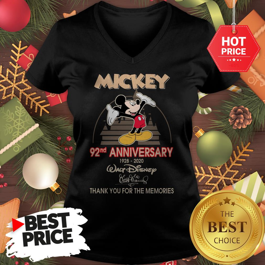 Mickey 92nd Anniversary 1928-2020 Thank You for The Memories V-Neck