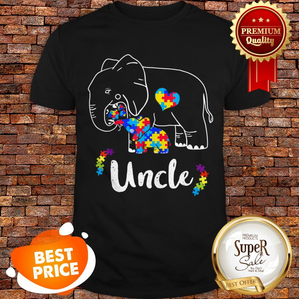 Nice Autism Awareness Support Uncle Elephant Gift Shirt