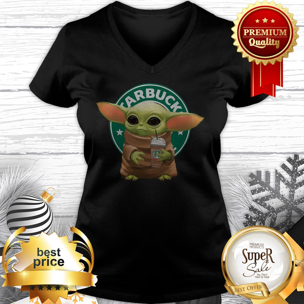 Nice Baby Yoda Hold Starbucks Logo V-neck