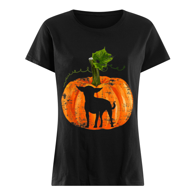 Nice Chihuahua in Pumpkin Funny Halloween Dog Lovers Gift Women's Shirt
