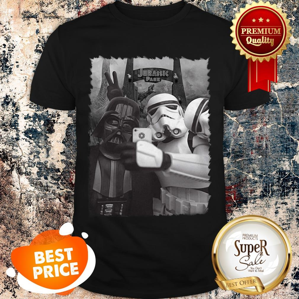 Nice Darth Vader And Stormtroopers Selfie In Jurassic Park Shirt