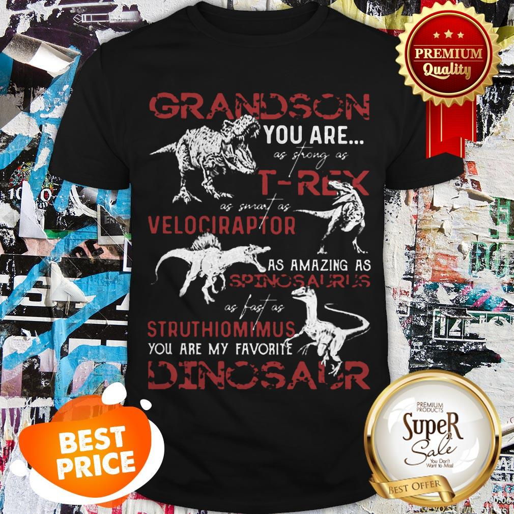Nice Grandson You Are As Strong As T-Rex As Velociraptor Spinosaurus Shirt
