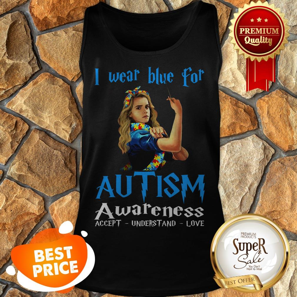 Nice Hermione Granger I Wear Blue For Autism Awareness Harry Potter Tank Top