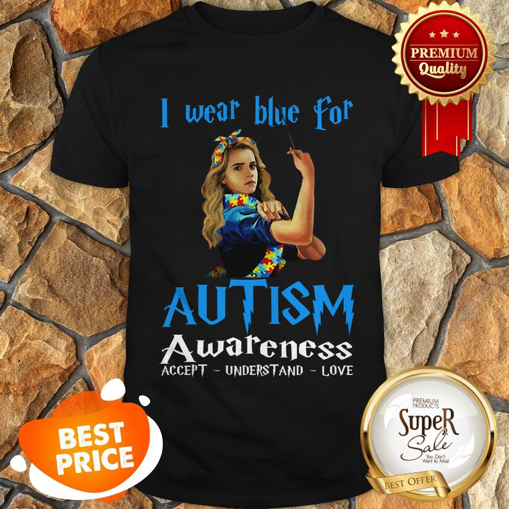 Nice Hermione Granger I Wear Blue For Autism Awareness Harry Potter Shirt