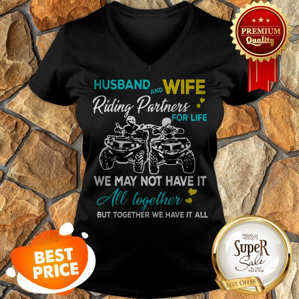 Nice Husband And Wife Riding ATVS Partners For Life Together V-neck