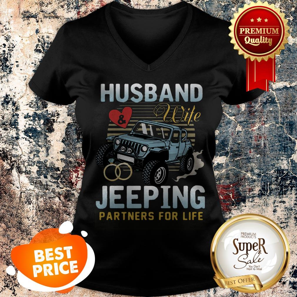 Nice Husband Wife Jeeping Partners For Life V-neck