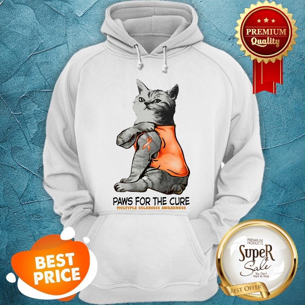 Nice Tattoos Cat Paws For The Cure Multiple Sclerosis Awareneass Hoodie