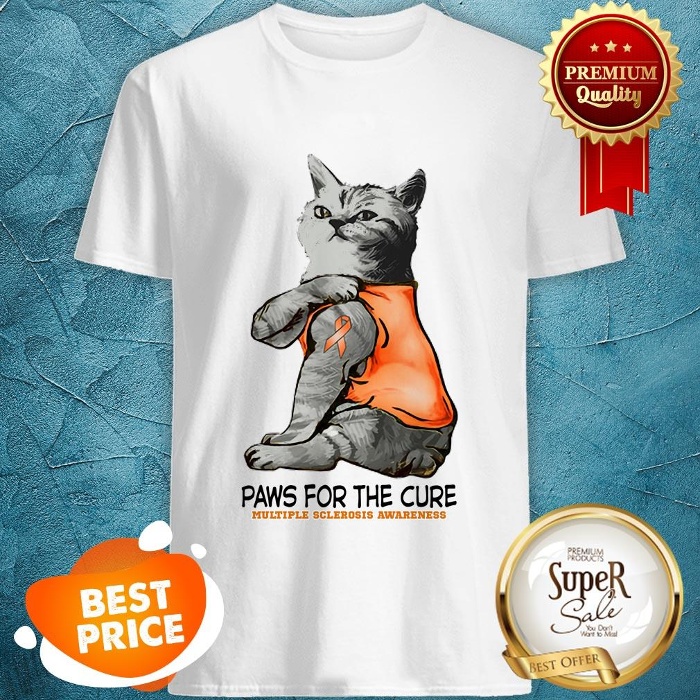 Nice Tattoos Cat Paws For The Cure Multiple Sclerosis Awareneass Shirt