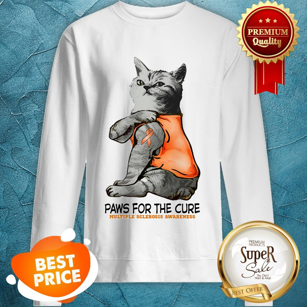 Nice Tattoos Cat Paws For The Cure Multiple Sclerosis Awareneass Sweatshirt