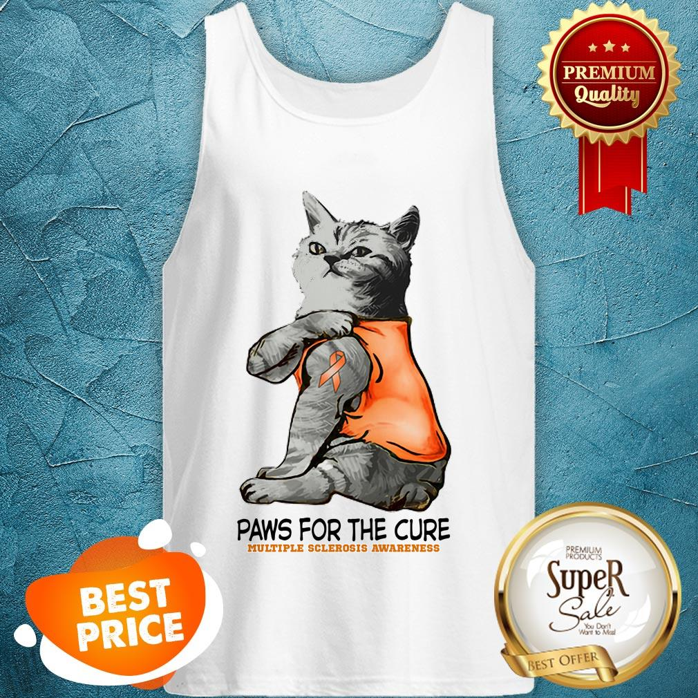 Nice Tattoos Cat Paws For The Cure Multiple Sclerosis Awareneass Tank Top