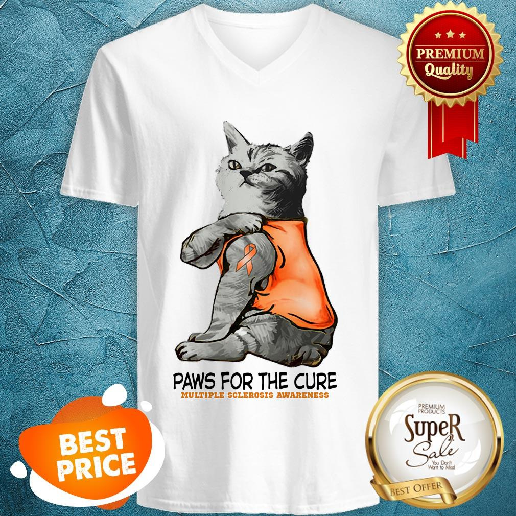 Nice Tattoos Cat Paws For The Cure Multiple Sclerosis Awareneass V-neck