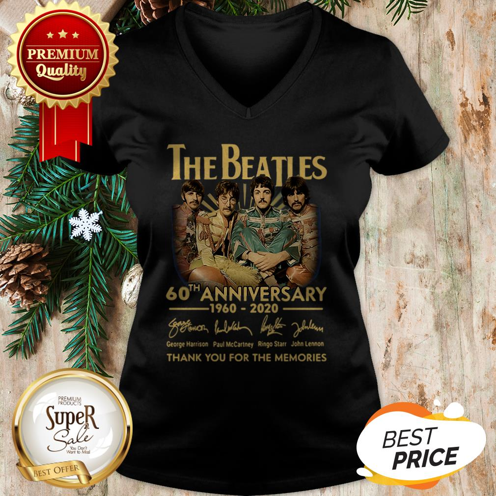 Nice The Beatles 60th Anniversary Thank You For The Memories Signature V-neck