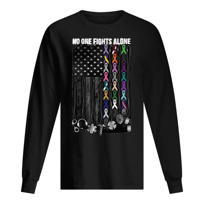 No one fights alone Breast Cancer Awareness Men's Long Sleeved